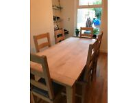 Large Solid Wood Table and Six Chairs