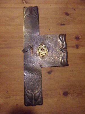 antique arts & crafts T shape finger push plate door repair plate lock restore 1