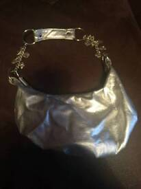 Silver bag with charms on strap - new look