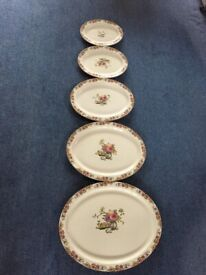 5 x Vintage Oval Dinner Platters - Wood & Sons Ltd