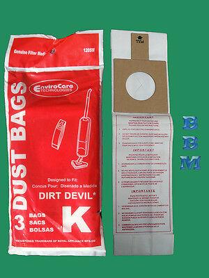 3 Royal Dirt Devil Stick broom Type K 3320075001 3320230001 320235 Vacuum Bag