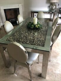 Chrom and Drift Wood Dinning Table and 6 Chairs & 2 side tables