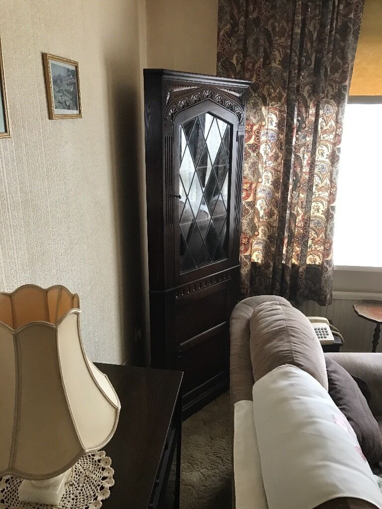 Large 6ft Dark Wood Corner Display Unit Excellent Overall Condition. Can Deliverin Leeds City Centre, West YorkshireGumtree - Large 6ft Dark Wood Corner Display Unit Lockable Glass Cabinet. Excellent Overall Condition. Can Deliver Locally For Additional Fee! £25 Height 1750mm Width. 730mm Depth 460mm