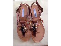 Chestnut Brown leather flat sandals