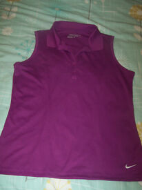 Nike Golf Dri-Fit Tour Performance Ladies Sleeveless Polo Shirt Hot Pink SIZE L