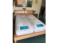 King size bed frame with link and zip mattress