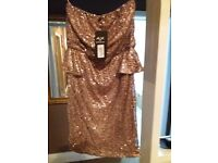 New Size 12 gold sequin dress