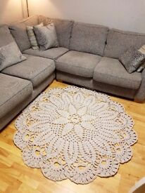 Hand crocheted doily style rug.