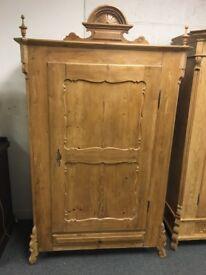 French antique pine wardrobe