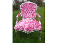 Pink crushed velvet diamante studded french louis armchair