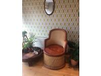 Vintage retro leather and wicker rattan chair