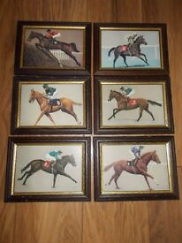 6 RACEHORSE CARDS FRAMED AND MOUNTED UNDER GLASS OF FAMOUS RACEHORSES