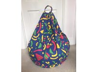 Large Multi Coloured Bean Bag with carry handle - Excellent Condition