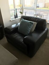Large 4 seat Sofa and Armchair- Black Leather