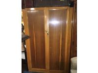 Charming Vintage Utility1950's Lockable Two Tone Light Oak Veneer Wardrobe