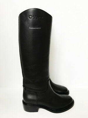 NIB $1725 14B CHANEL BLACK LEATHER RIDING HIGH BOOTS 37