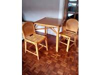 Kitchen/dining table cane frame with 2 chairs solid wood top 30ins.square
