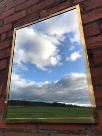 Vintage Solid Brass Framed Mirror