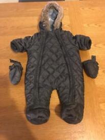 Grey newborn baby snowsuit & mittens