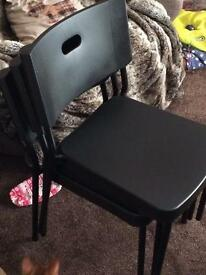Black Stackable Chairs x 4