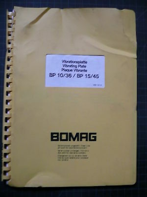 Bomag BP10 BP36 BP15 BP45 Vibration Plate Compactor Teile Manuell Buch Ersatz - Vibrations Plate Compactor