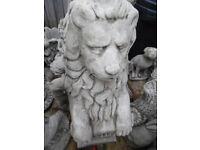 large sheild lion concrete stone garden ornament