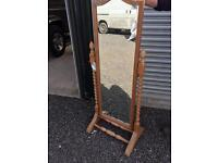Tall solid pine free standing mirror