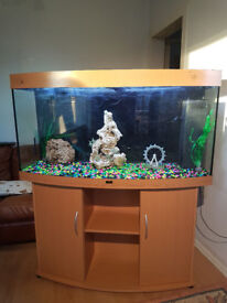 260 LITER, 4FT JUWEL BOW FRONTED FISH TANK AND STAND FOR SALE,,FULL SET UP