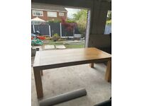 Oak wood dining table & 6 grey chairs