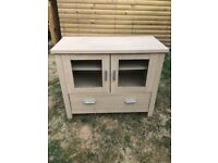Modern Oak Effect Storage Cabinet Cupboard with Glass Door and Drawer - Stag Furniture