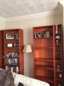 """IKEA """"BILLY"""" cherry wood veneer bookcases and cd shelves"""