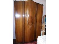 2 x 1950's Walnut quartered Wardrobes +dressing table