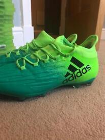 Green Adidas tech fit football stud boots size 8UK