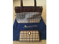 Designer Aquascutum classic check handbag and purse