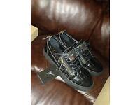 Giuseppe Zanotti Kris Black Reptile Leather Gold Zipper Low Top Men's Sneakers
