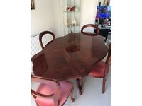 Italian inlaid dining table & 4 balloon backed chairs - gorgeous set