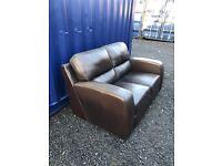 Brown Leather Retro Look Sofa. Excellent Condition. Can Deliver.