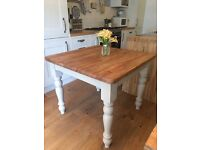 Beautiful farmhouse solid pine table - Annie Sloan country grey
