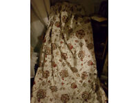 """1 PAIR OF JACOBEAN FLORAL HEAVY COTTON CURTAINS - 84""""W (pulled in to 54"""" at top)X 72""""L"""