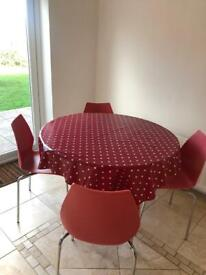 Round Kitchen Dining Table with Red Chairs