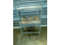 shelves, galvanised metal shelving unit, wood shelves