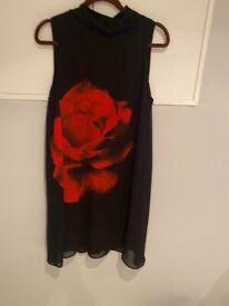 Black chiffon dress with Rose detail