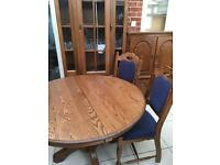 Solid Oak Karel Mintjens Round Dining Room Table and 6 Chairs