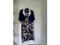 Berketex dress and jacket size 16 purple and white mix excellent condition