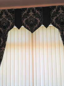 Jacquard curtains black/grey 46x90 with matching pelmet