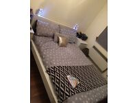 Double bed with mattress IKEA Malm (white)