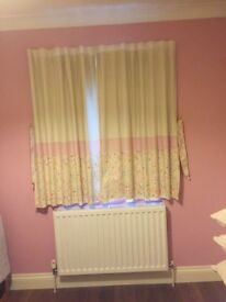 """Dunelm curtains With blackout lining (46x54"""") cream/pink/flowers"""