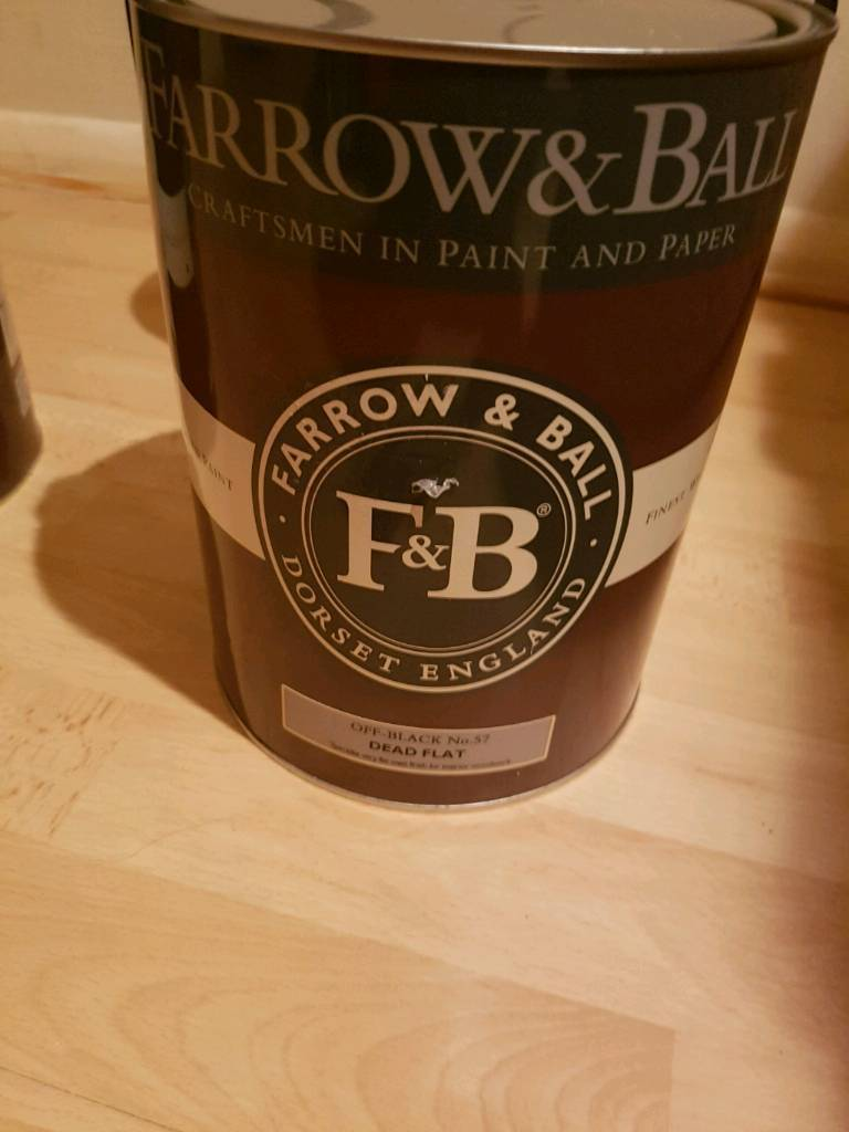 Farrow and ball 5 litre tins of new paint no 57 off black colour