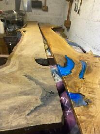 Reclaimed wood, metal and epoxy creations.