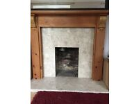 Marble fireplace and earth solid pine surround and mantelpiece